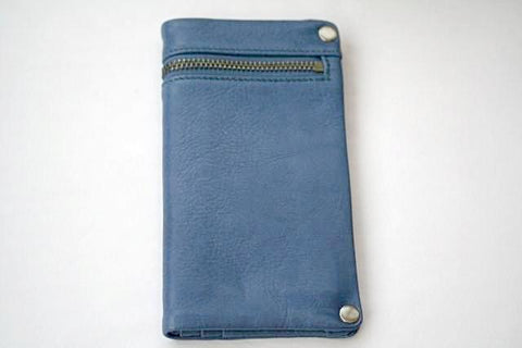 zip detail wallet - large - skipper blue
