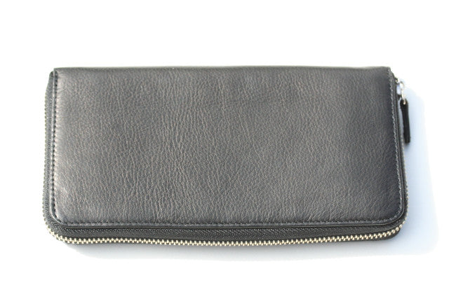 long zip around wallet - black