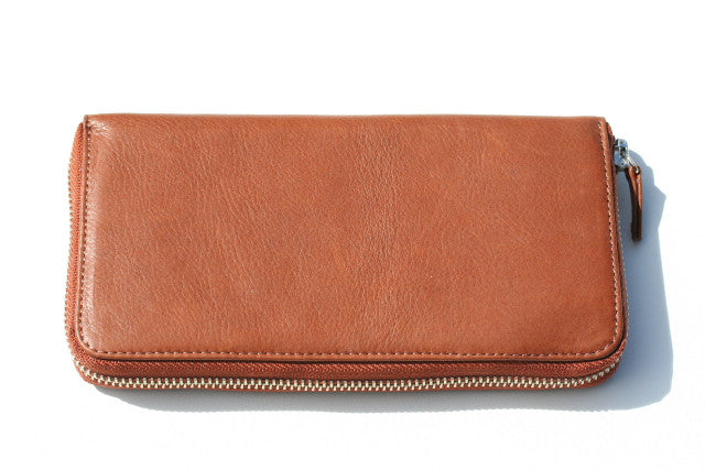 long zip around wallet - tan