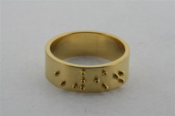 braille ring - hope - gold plated