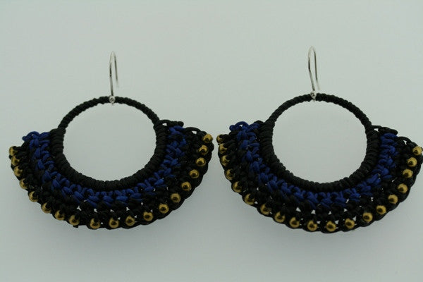 brass beaded hoop - blue