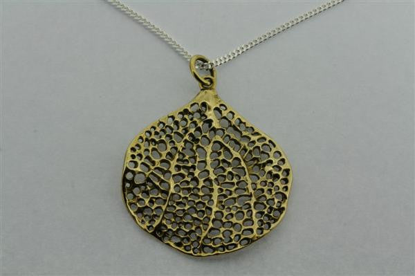 brass bohdi leaf pendant on 80cm link chain