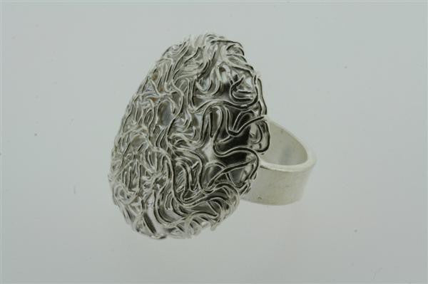 convex oval textured ring