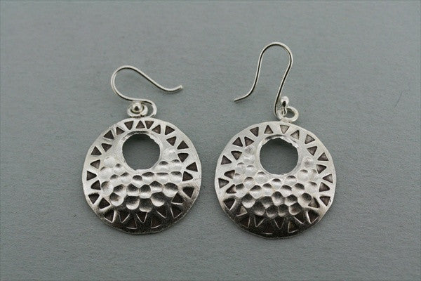 convex pattern & textured earring - pure silver