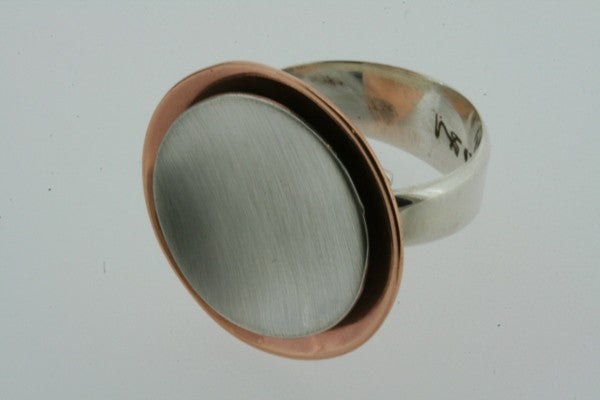 copper / silver cup ring