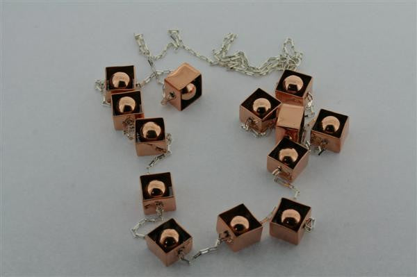 copper framed balls & silver necklace