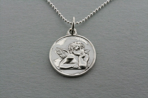 cupid pendant on 55cm ball chain