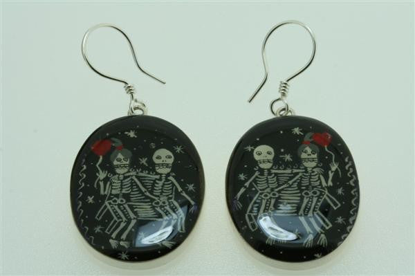 day of the dead resin earring