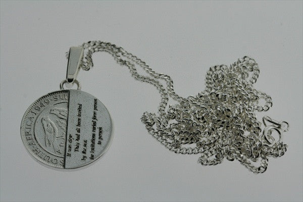 detective coin pendant on 60cm link chain