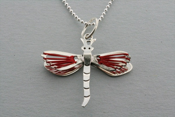 dragonfly wire pendant - red on 45cm ball chain
