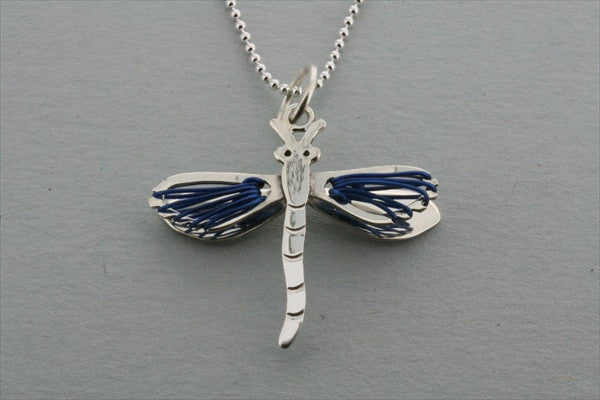 dragonfly wire pendant - blue on 45cm ball chain