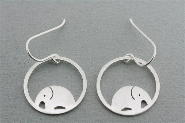elephant in circle earring