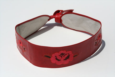 embroided belt - red
