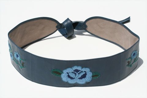 embroided belt - blue