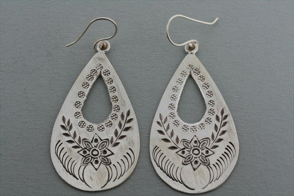 etched floral teardrop earring