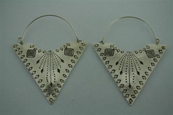 etched triangle earring