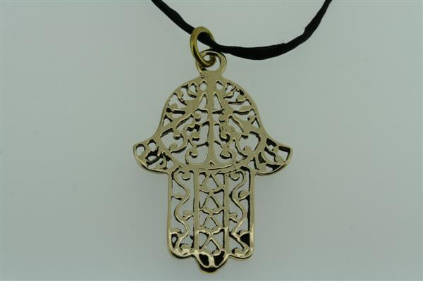fatima pendant - brass on black silk