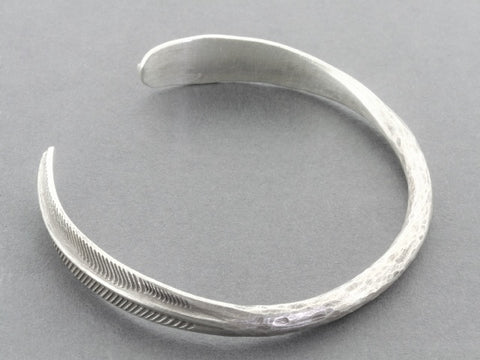 feather battered cuff - pure silver