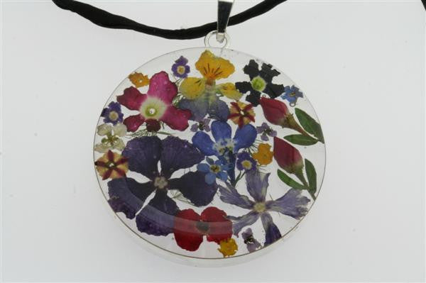 flower/resin pendant - circle on black silk