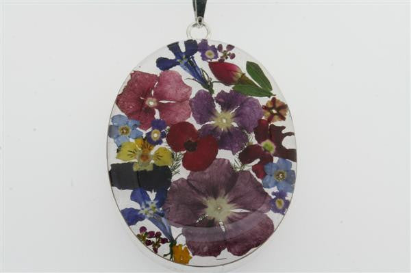 flower/resin pendant - oval on black silk