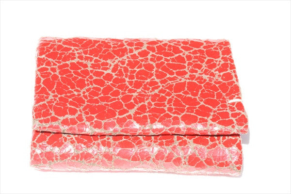 fold wallet - red crackle