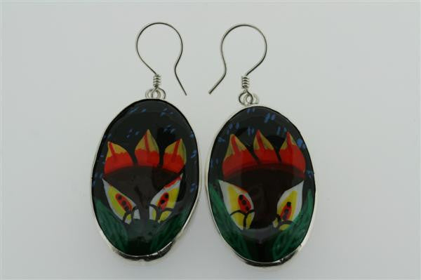 hand painted ceramic earring -flor