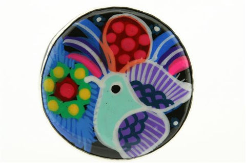 hand painted ceramic ring- hummingbird