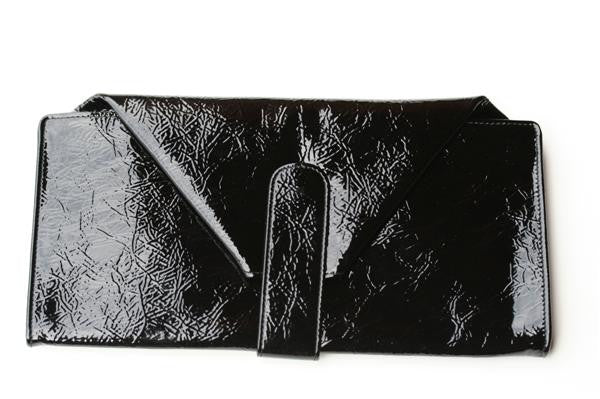 large envelope wallet - patent black