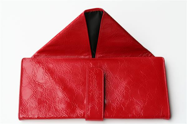 large envelope wallet - patent red