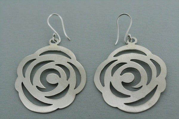 large matte rose earring
