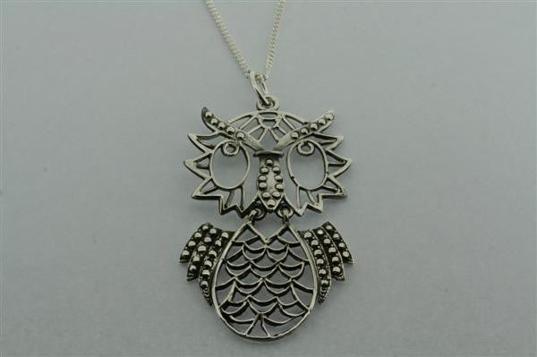 large owl necklace on 80cm link chain