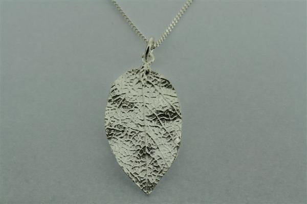 large textured leaf pendant on 60cm link chain