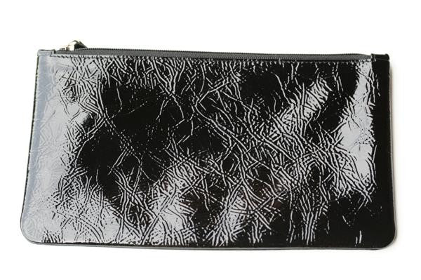 large zip pouch - patent black