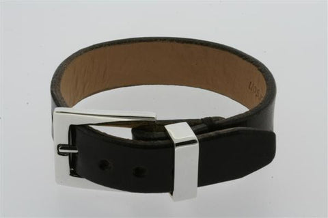 leather buckle bracelet - black