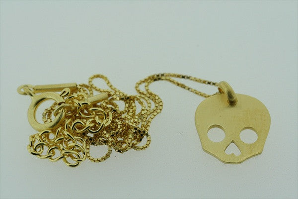 little skull necklace - gold plated