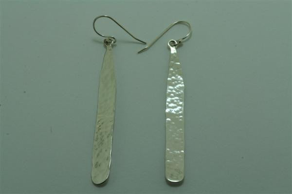 long battered drop earrings