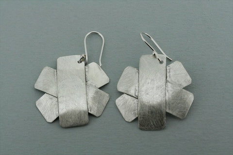 matte 3 layered cross earring