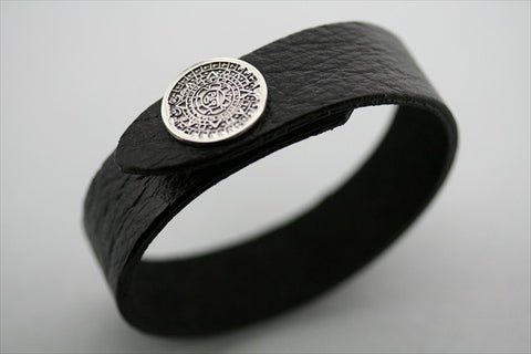 mayan calendar button leather cuff