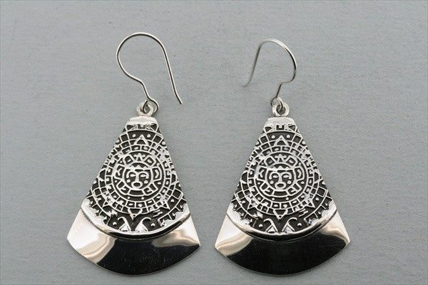 mayan calendar wedge earring