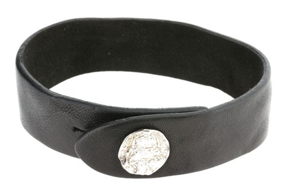 elephant skin button leather cuff