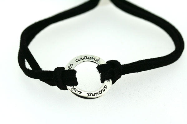 what goes around suede bracelet - black