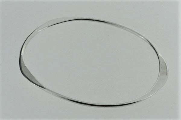 flattened oval bangle - sterling silver