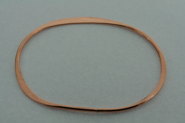 narrow flattened oval bangle - copper
