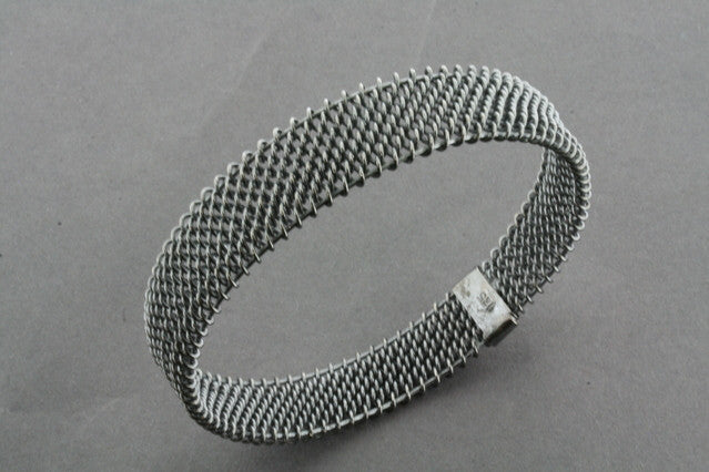 woven mesh bangle - oxidized