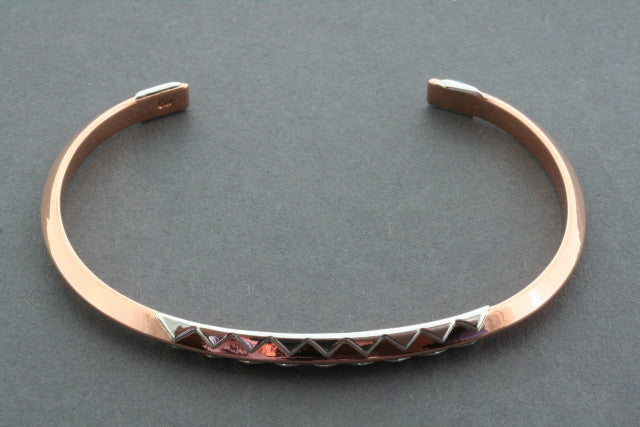copper crocodile cuff with silver