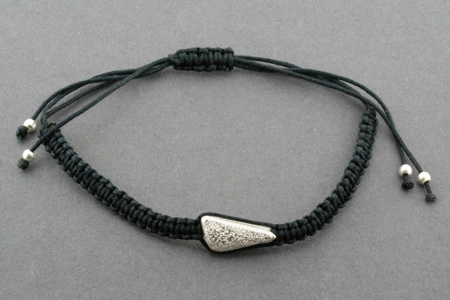 string bracelet - long triangle - silver sparkle