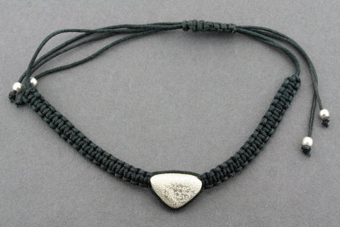 string bracelet - triangle pebble - sliver sparkle