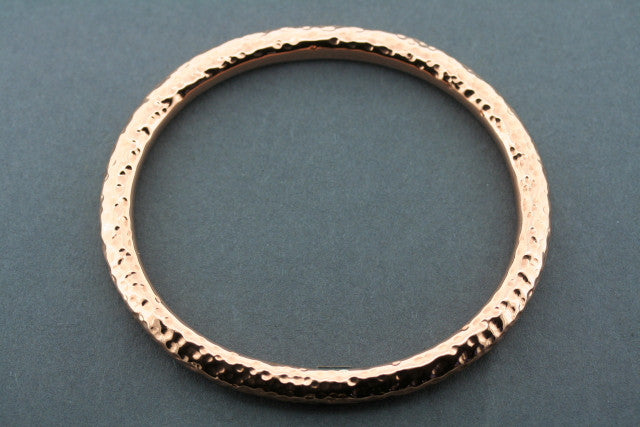 oval tubular battered bangle - copper