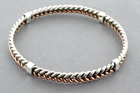 copper & silver plaited bangle