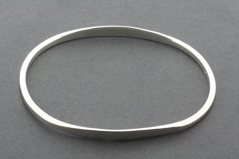 oval flattened bangle - sterling silver